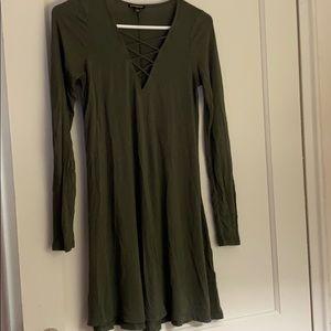 Express olive green long sleeve dress